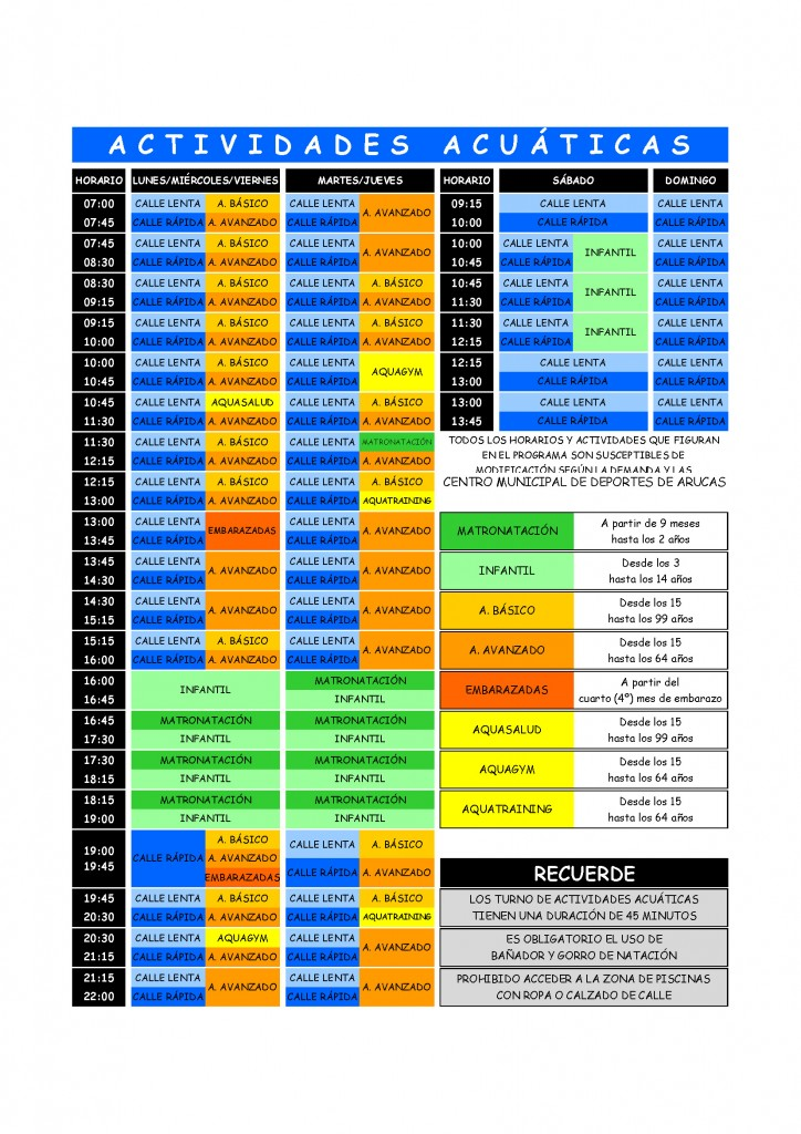CDA ACTIVIDADES ACUATICAS Programa de actividades 2016 (2)
