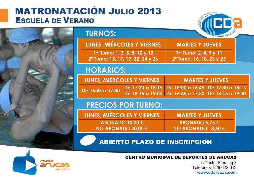 CARTEL Escuela de Verano Matronatacion cda Julio 2013