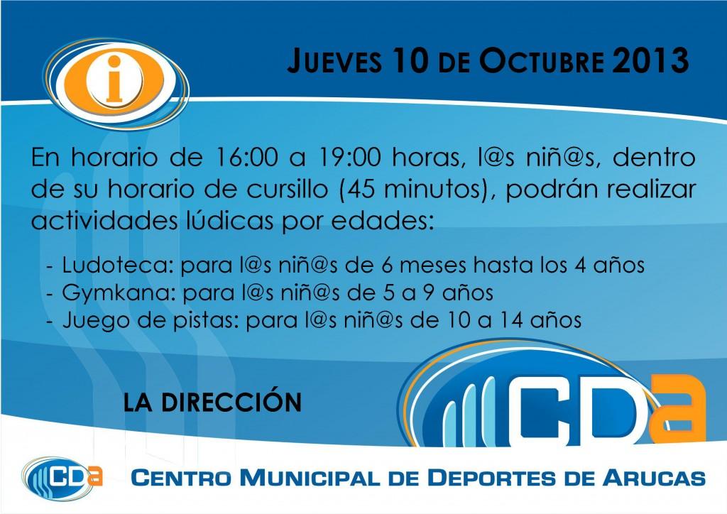 COMUNICADO Actividades ludicas cda Octubre 2013
