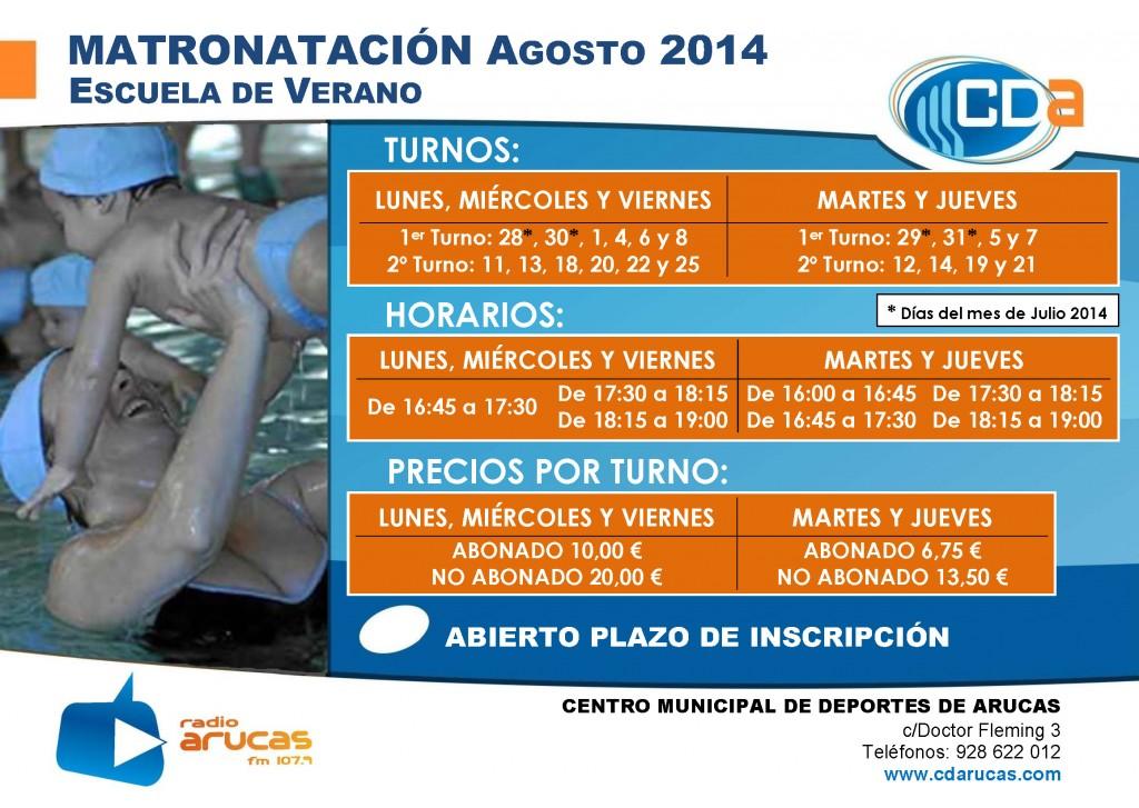 CARTEL Escuela de Verano Matronatacion cda Agosto 2014