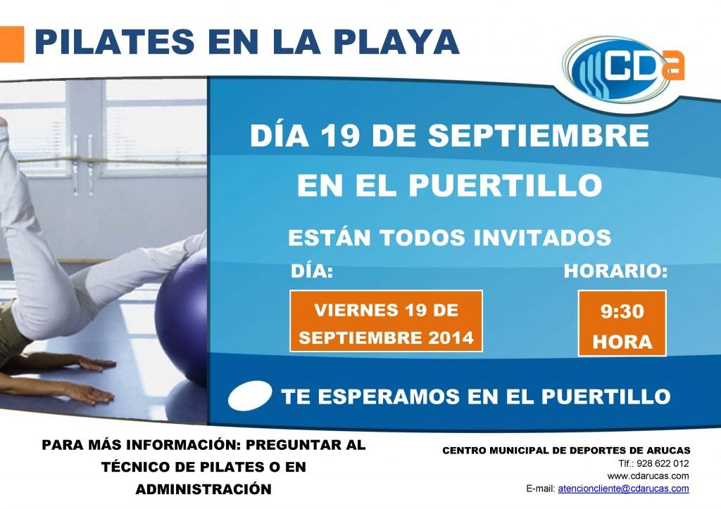 CARTEL PILATES EN LA PLAYA CDA 2014