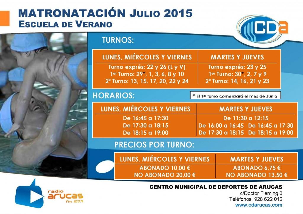 CARTEL Escuela de Verano Matronatacion cda Julio 2015